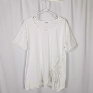 ZARA collection t- shirt white with lace size L